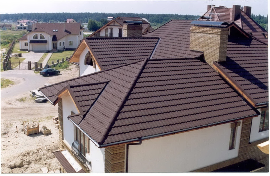 Photos of the roof with composite shingles metrotile Composite roofing tiles