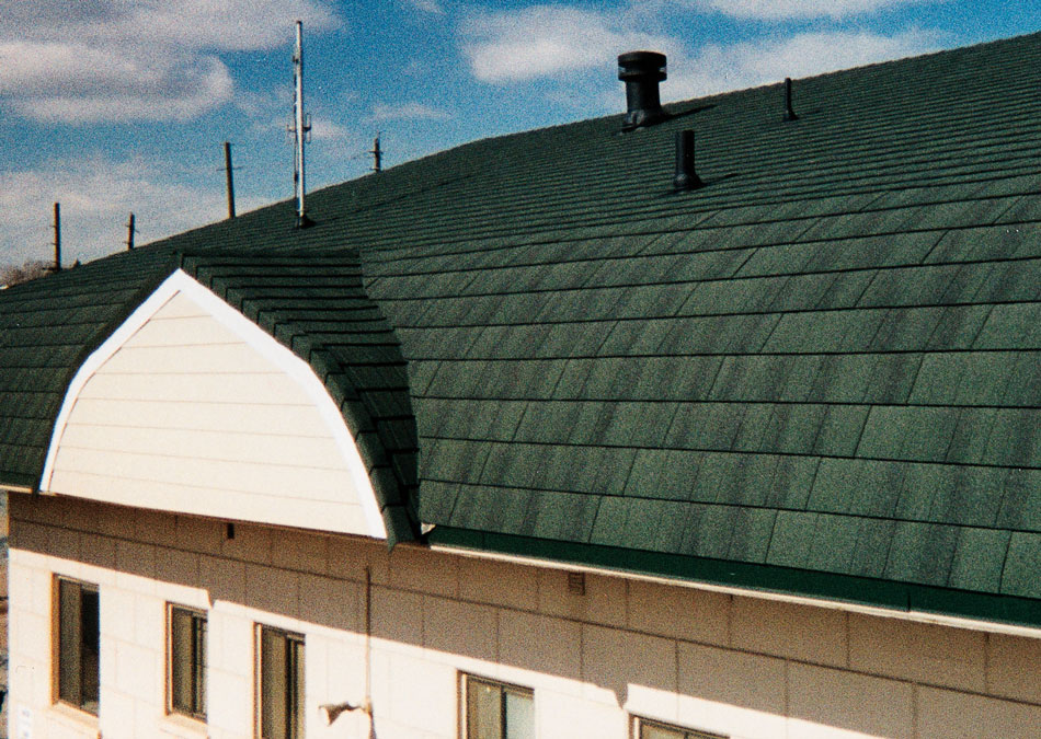 Photos of the roof with composite shingles metroshingle for Composite roofing tiles